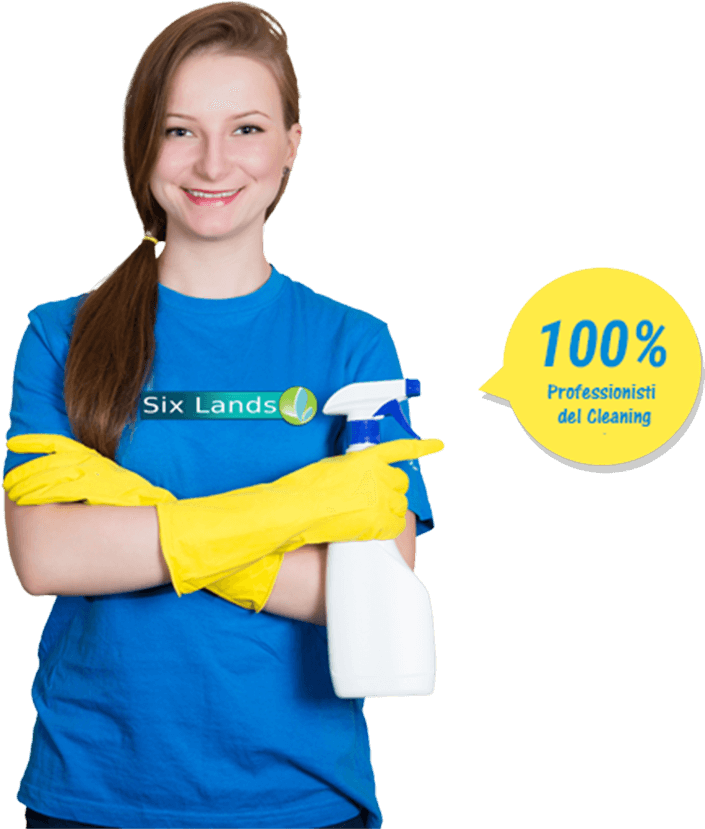 Un'addetta alle pulizie di Six Lands: 100% Professionista del Cleaning!